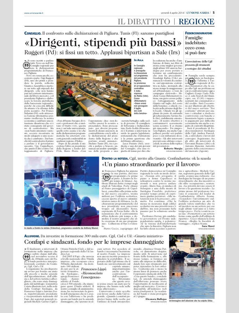 Unione Sarda 4 aprile 2014 p.5