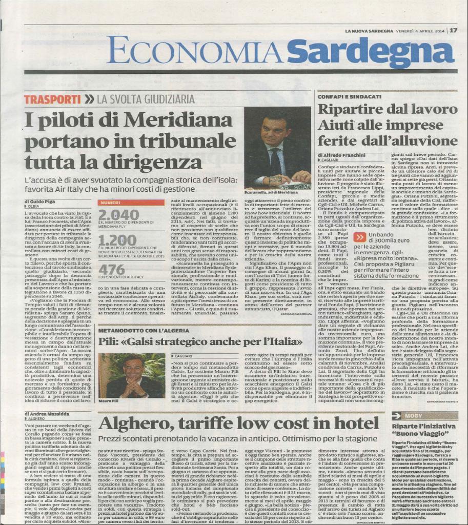 Articolo dell'economia Sardegna